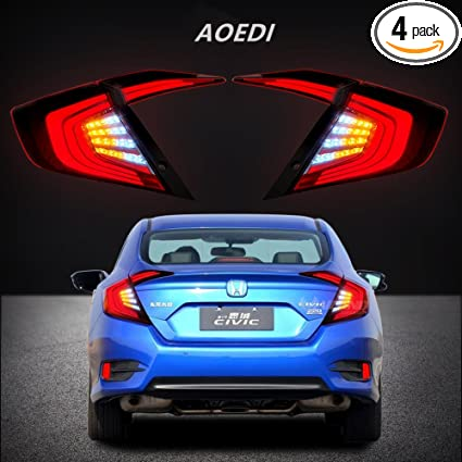 AOEDI New LED Tail Lights For Honda Civic 2016 2017 Smoked Lens Rear Lamp  Assembly