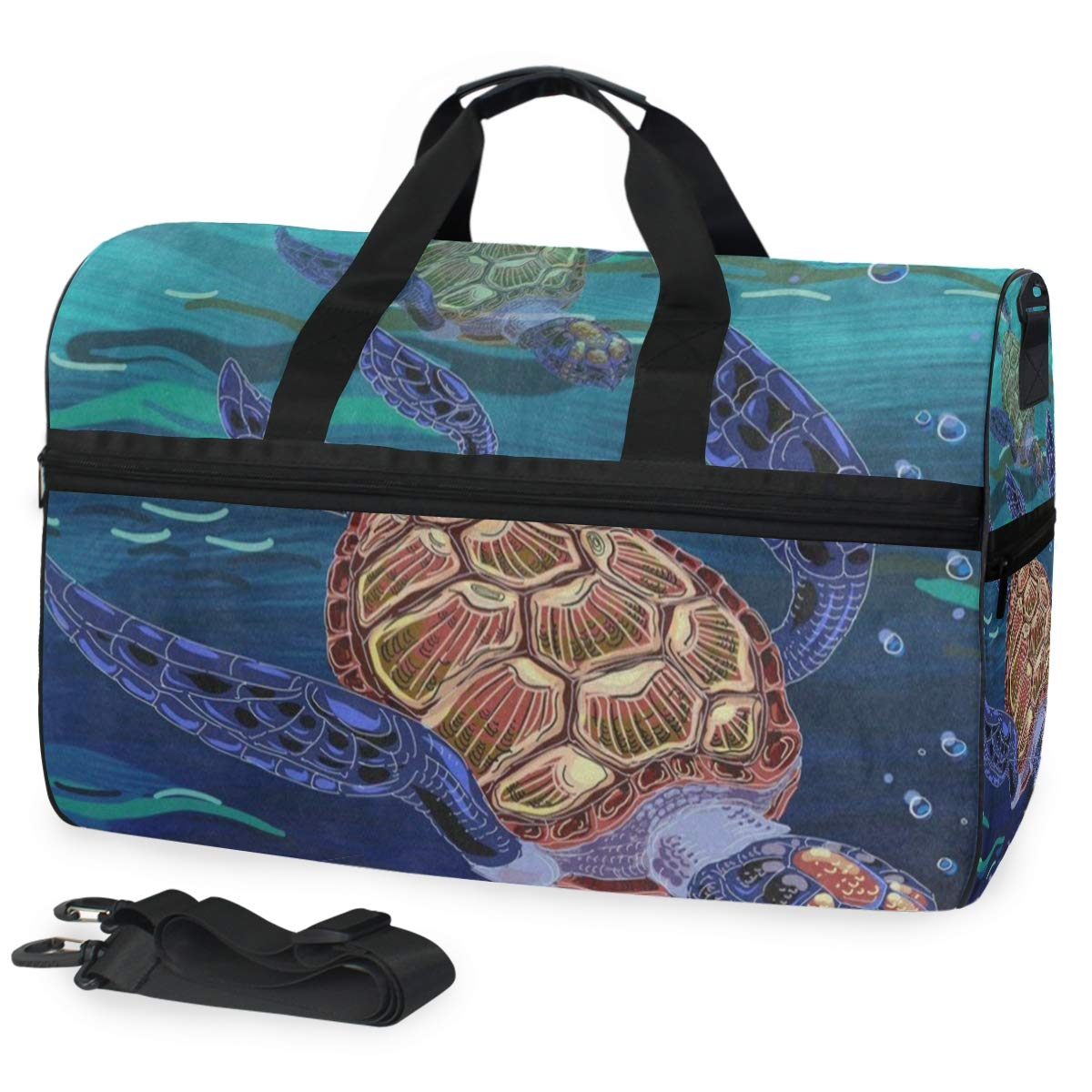 Colored Turtle Ocean Sea Large Canvas shoulder bag with Shoe Compartment Travel Tote Luggage Weekender Duffle Bag