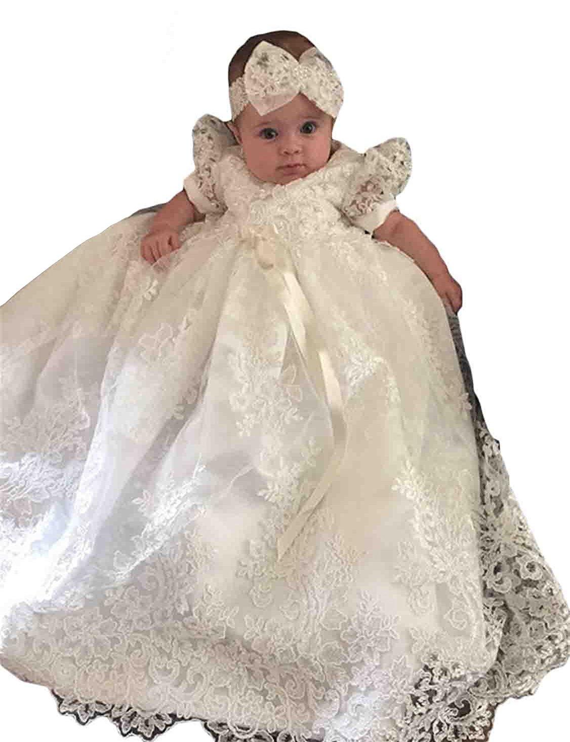 Aorme Christening Gowns Baby-Girls Beading Long Dedication Baptism Dresses