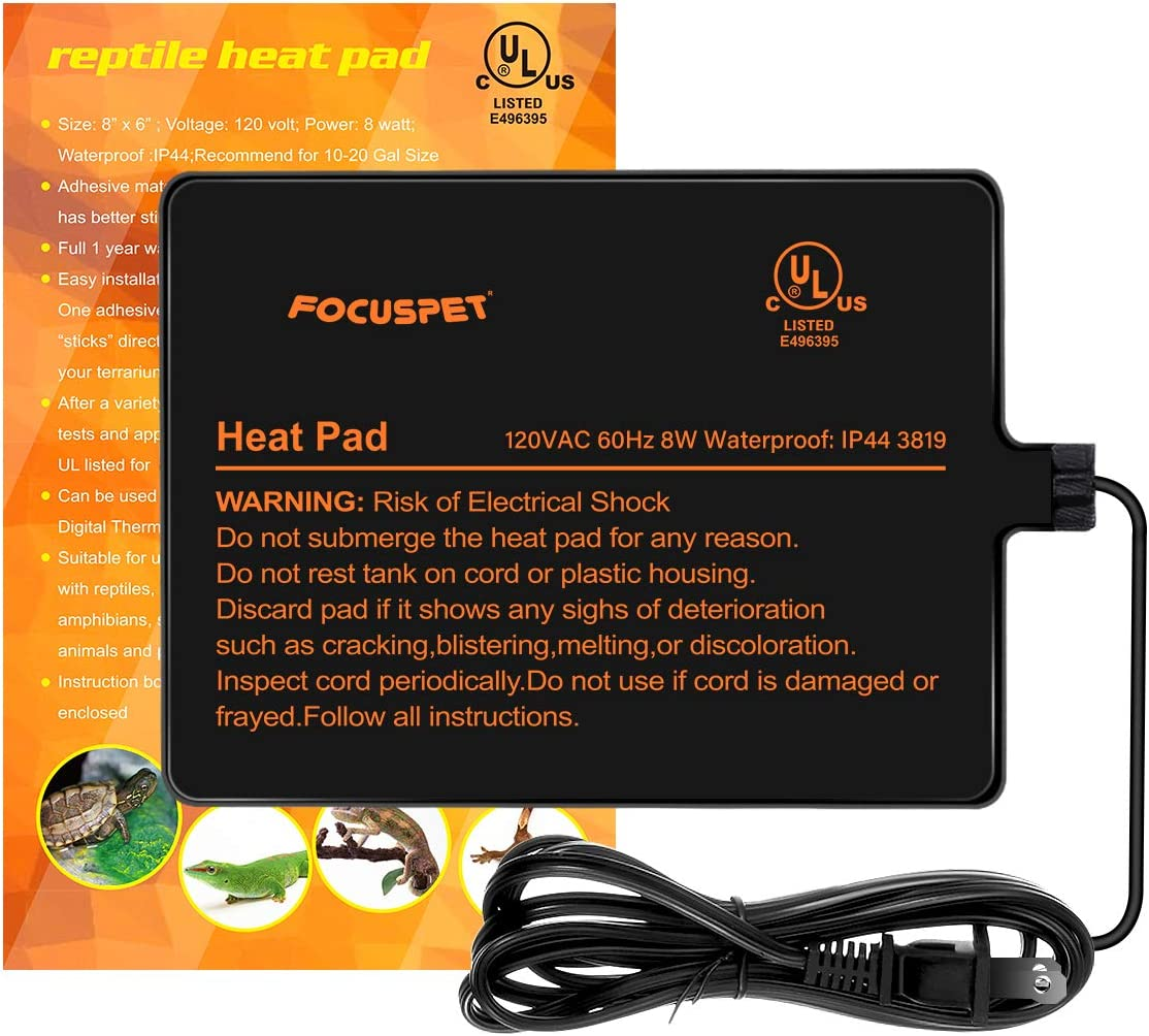 FOCUSPET Under Tank Heater, Reptile Heating Pad Waterproof UTH Heat Mat Terrarium Heating Pad for Small Animals Snake Lizard Bearded Dragon Tarantula Hermit Crab Turtle Leopard Gecko
