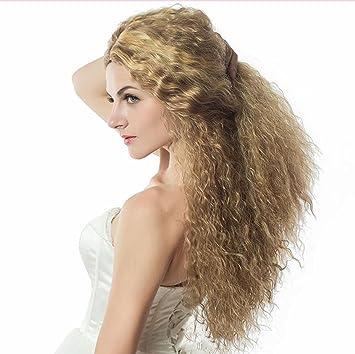 SHKY Peluca de pelo rubio rizado largo de las mujeres africanas peluca media peluca de la
