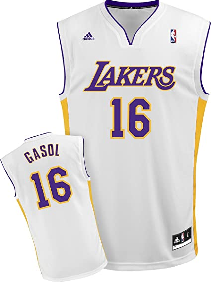adidas NBA Los Angeles Lakers Blanco réplica de la Camiseta PAU Gasol # 16, Hombre, Los Angeles Lakers: Amazon.es: Deportes y aire libre