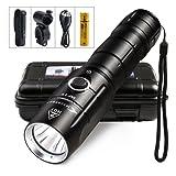 LED Taschenlampe Mini USB Aufladbar 30H Leuchtdauer Dimmbar 800Lumens Leuchtweite 300M Wasserdicht IPX6 Fahrradbeleuchtung Set Superhell Fahrradlampe Outdoor Sport Camping Taktisch Militär