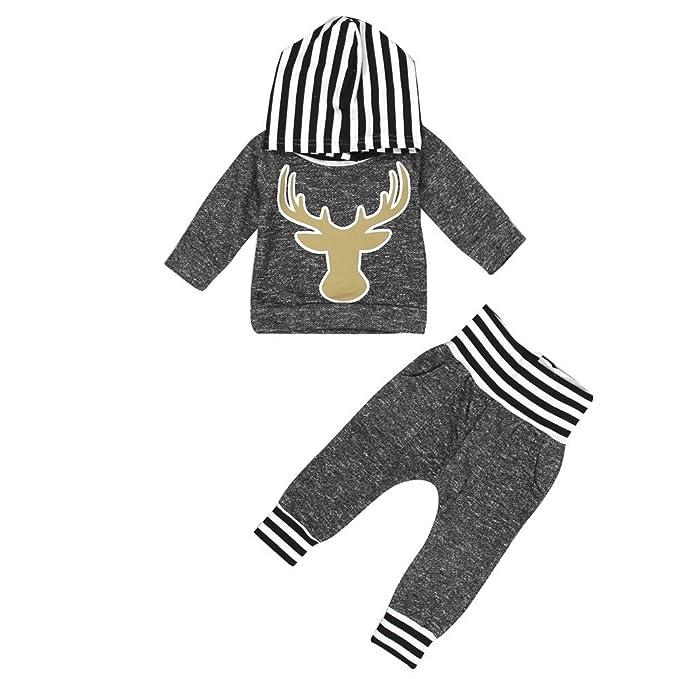 YanHoo Conjunto navideño Infantil Conjunto de Pantalones de Camiseta ...