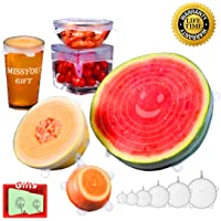 Silicone Stretch Lids   Pack - 6   Durable Eco Friendly Silicone Food Covers Reusable Expandable Lids for Cans, Jars, Bowls and Containers MissyouGift - Clear