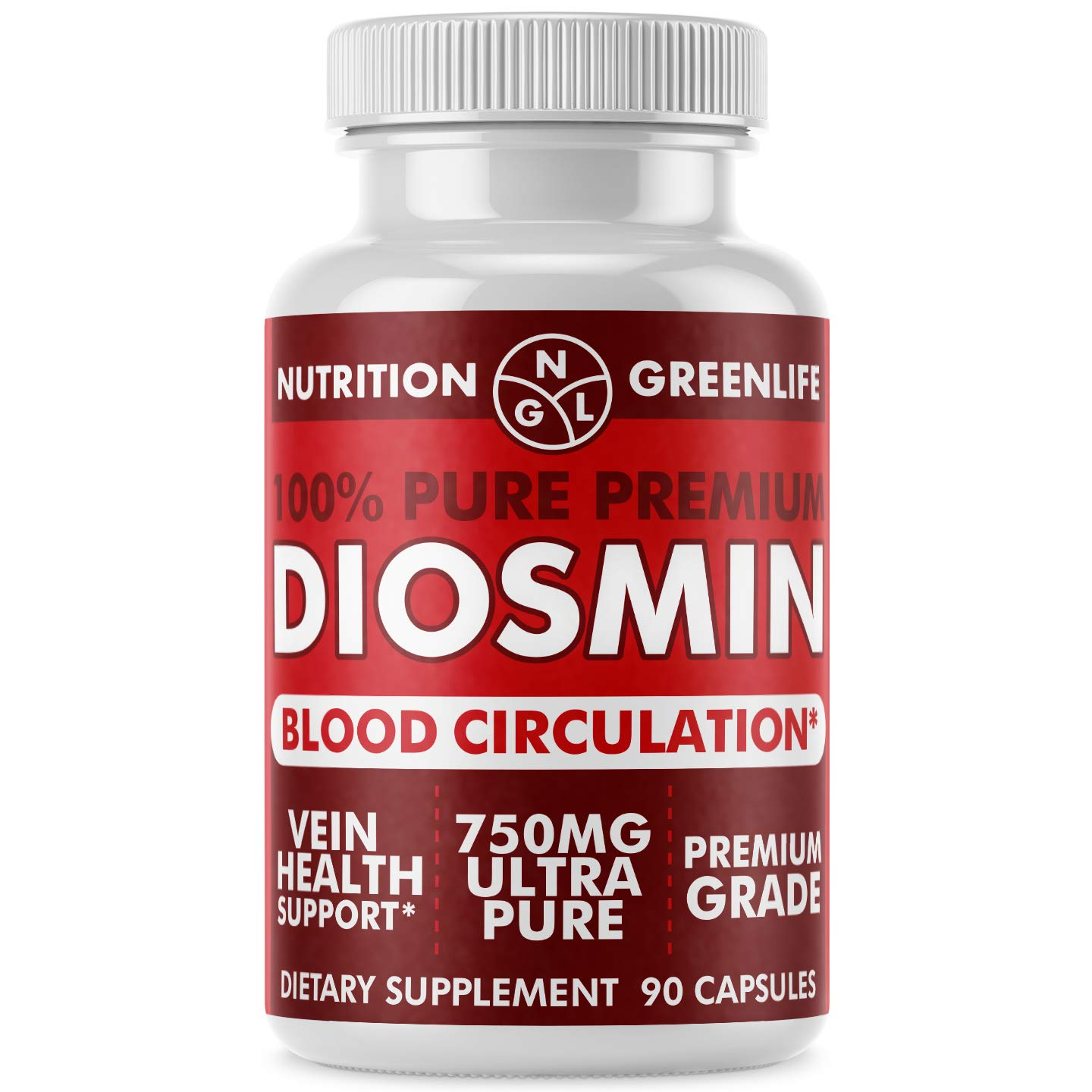 100% Pure DIOSMIN Pure Ingredient no Mixes or Additives for Blood Circulation, Leg Veins Health, Purity Guarantee Best Quality 90 Capsules