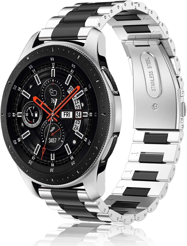 Fintie Correa Compatible con Samsung Galaxy Watch 46mm / Gear S3 Classic/Gear S3 Frontier - 22mm Pulsera de Repuesto de Acero Inoxidable, Plateado+Negro