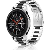 Fintie Band Compatible with Gear S3 / Galaxy Watch 46mm, 22mm Quick Release Stainless Steel Metal Replacement Strap Bands Compatible with Samsung Gear S3 Frontier / S3 Classic/Galaxy Watch 46mm Smartwatch, Black, Silver