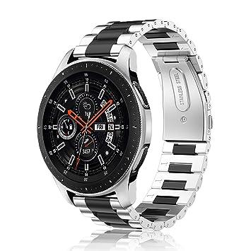 Fintie Correa para Samsung Galaxy Watch 46mm / Gear S3 Classic/Gear S3 Frontier - 22mm Pulsera de Repuesto de Acero Inoxidable, Plateado+Negro