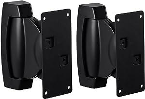 Mount-It! Heavy-Duty Speaker Wall Mount, Universal Adjustable Design for Bookshelf, Large or Small Speakers, 1 Pair, 22 Lbs Capacity, Black