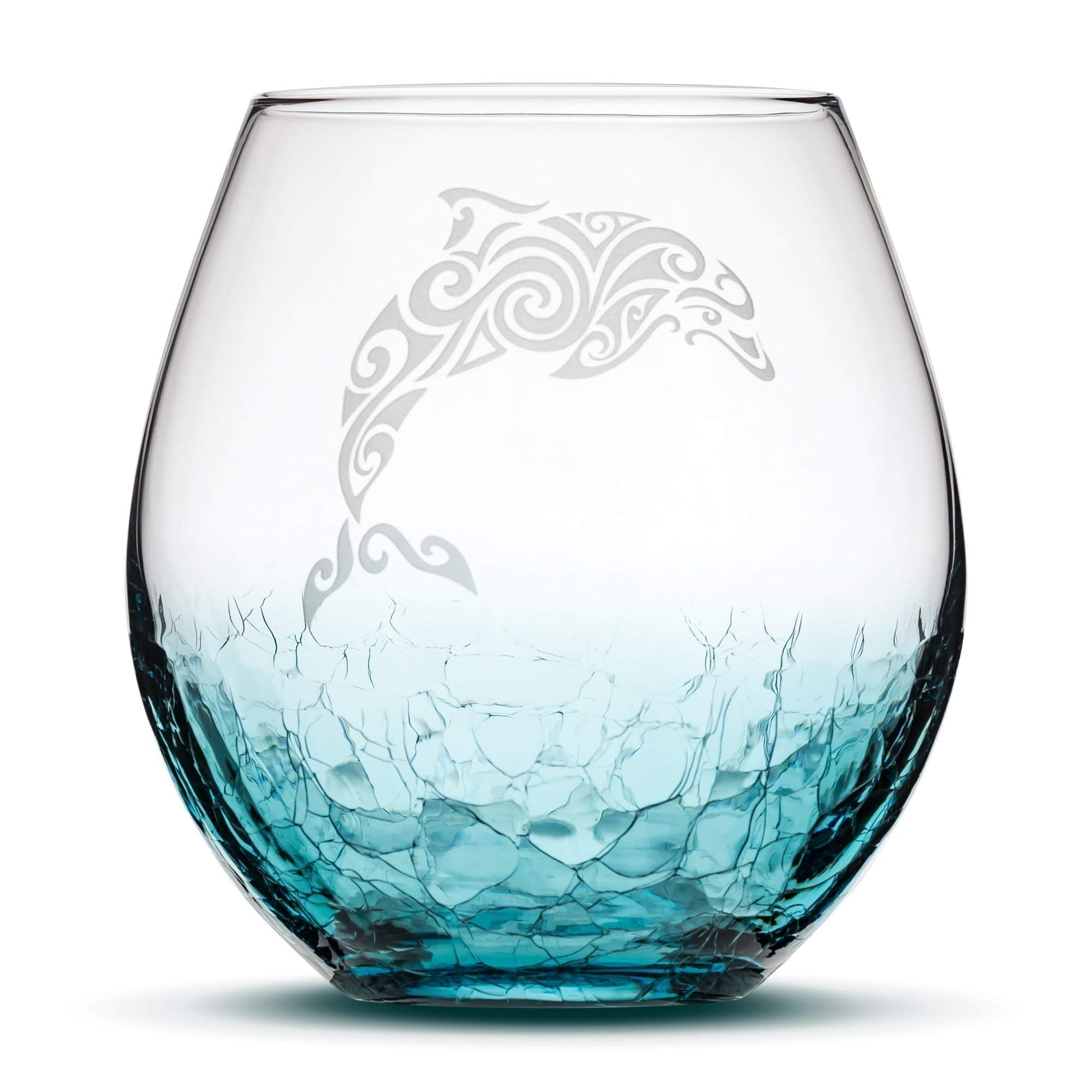 Crackle Teal Stemless Wine Glass - Hand Etched Tribal Dolphin Design - Sand Carved by Integrity Bottles by Integrity Bottles (Image #1)