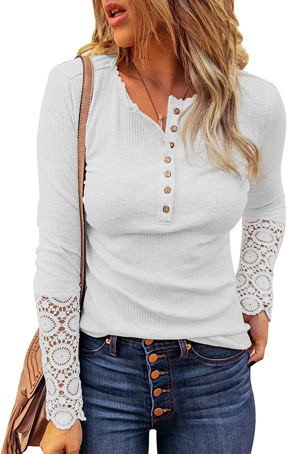 HOTAPEI Womens Long Sleeve V Neck Tunic Tops Front Button Up Shirt Blouse