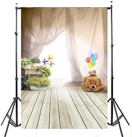 Mohoo 1*1.5m Fondo de la foto para niños interior del oso de peluche Niños del oso fondos de fotografía globo piso de madera fondo de vinilo: Amazon.es: Bricolaje y herramientas