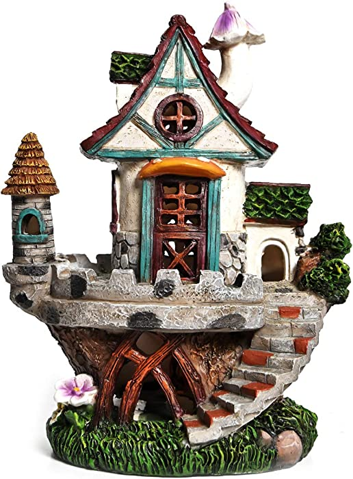 ASAWASA Resin Attic Solar Garden Statues and Sculptures Outdoor Decor, Garden Figurines with Solar Powered Lights for Patio,Lawn,Yard Art Decoration, Housewarming Garden Gift,6.1x4.7x7.9 Inch