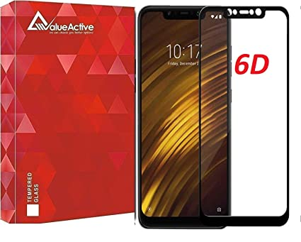 VALUEACTIVE Accessories For All 6D Edge-Edge Full Glue Anti Scratch and  Fingerprint Tempered Glass for Xiaomi Poco F1 (Black)