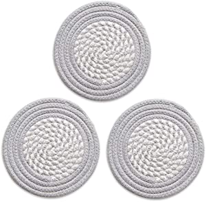 Kitchen Trivet Woven Fabric Trivets Round Hot Pads Coasters for Hot Dishes, 100% Pure Cotton Thread Weave Potholder Set Heat Resistant & Non-slip & Absorbent, Diameter 7 Inch Set of 3 Grey