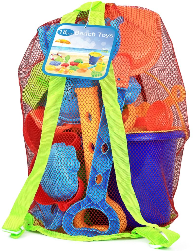 Click N' Play 18Piece Beach Sand Toy Set, Bucket, Shovels, Rakes, Watering Can, Molds by Click N' Play