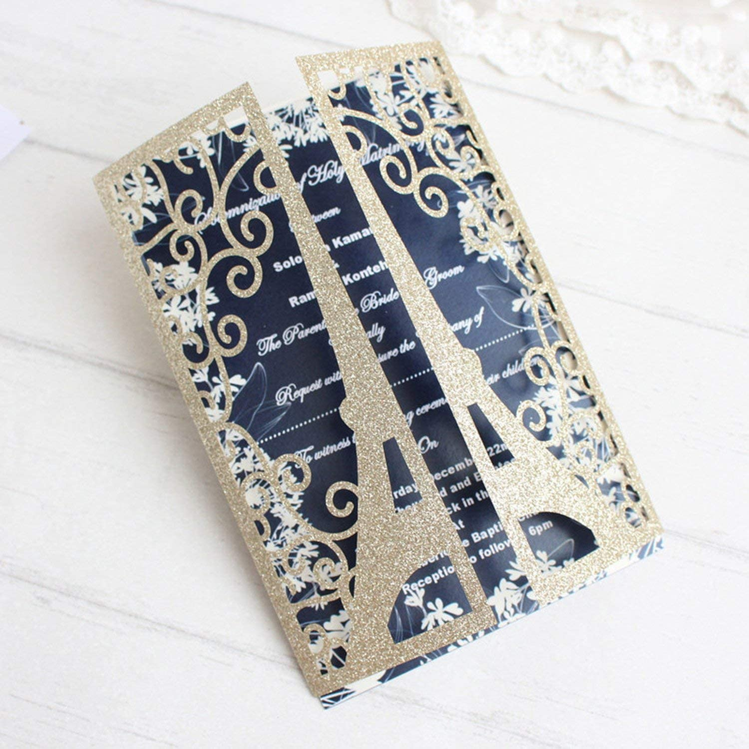 Glitter Invitations for Wedding Business Party Paris Eiffel Tower Greeting Card Supply,Choose Color,Laser Cut Card