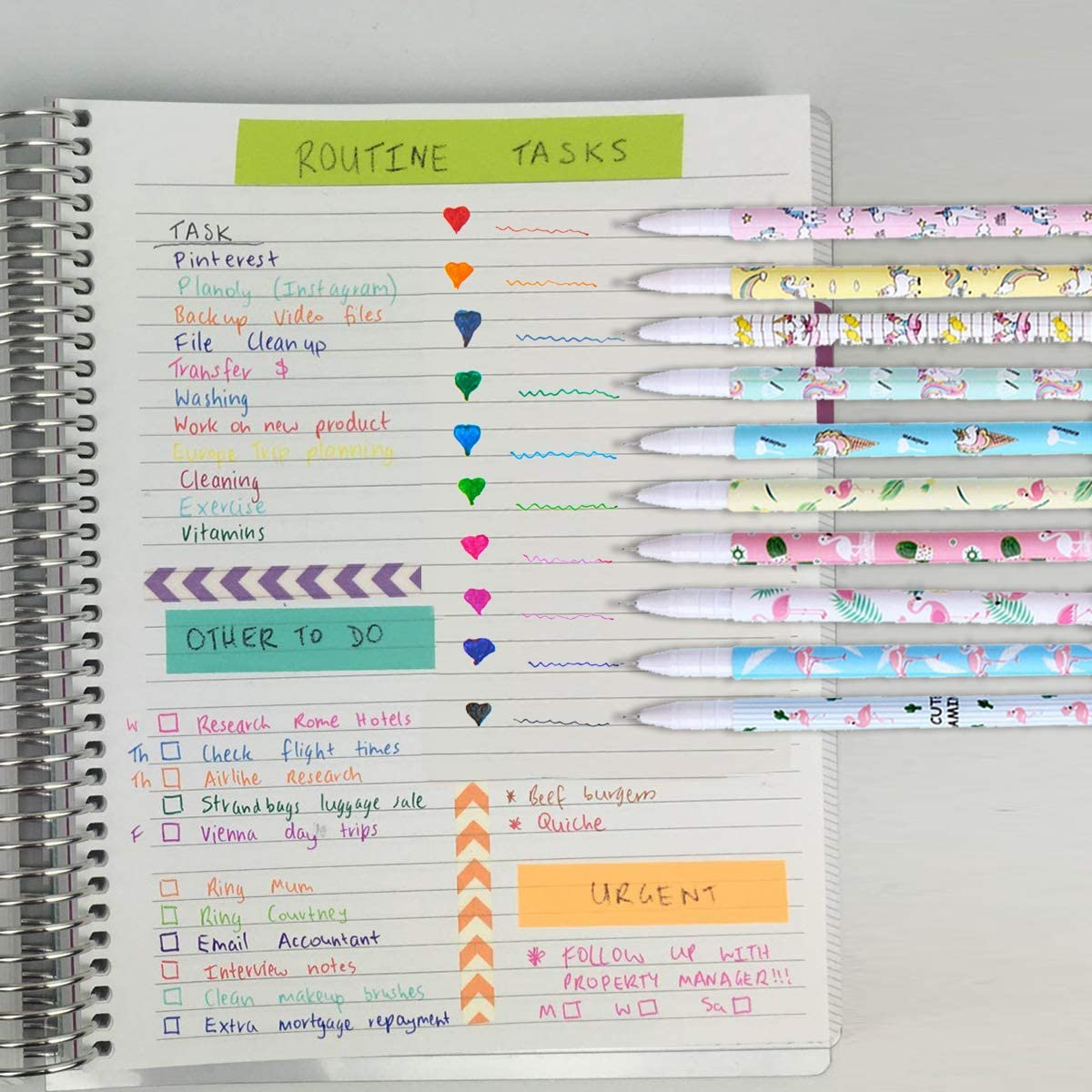 Yansion Unicorn Flamingo Gel Pens Set Cute PU Zipper Unicorn Pencil Case Pouch Bag School Gift for Girls