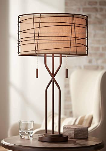 Marlowe Modern Table Lamp Metal Woven Bronze Burlap Drum Shade for Living Room Family Bedroom Bedside Nightstand – Franklin Iron Works