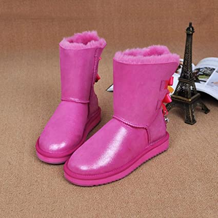 e81db483a55b Hy Women s Casual Shoes Winter New Plus Cashmere Bowknot Lace-up Snow Boots