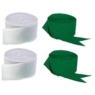 Green and White Crepe Paper Streamers (2 Rolls Each Color) MADE IN USA!: Toys & Games