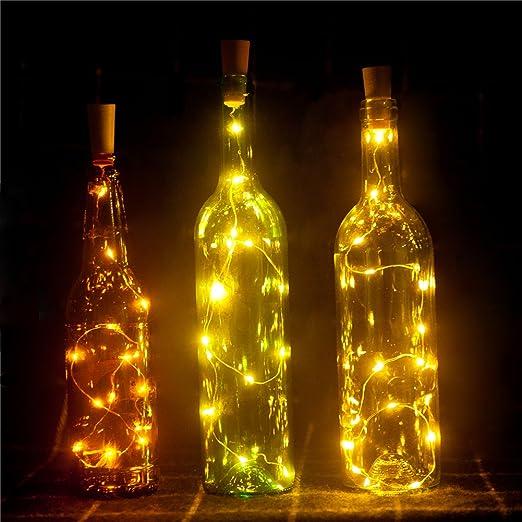 3 Pack LED Light Wine Bottle Copper Wire String lights Cork Festival Party Decor