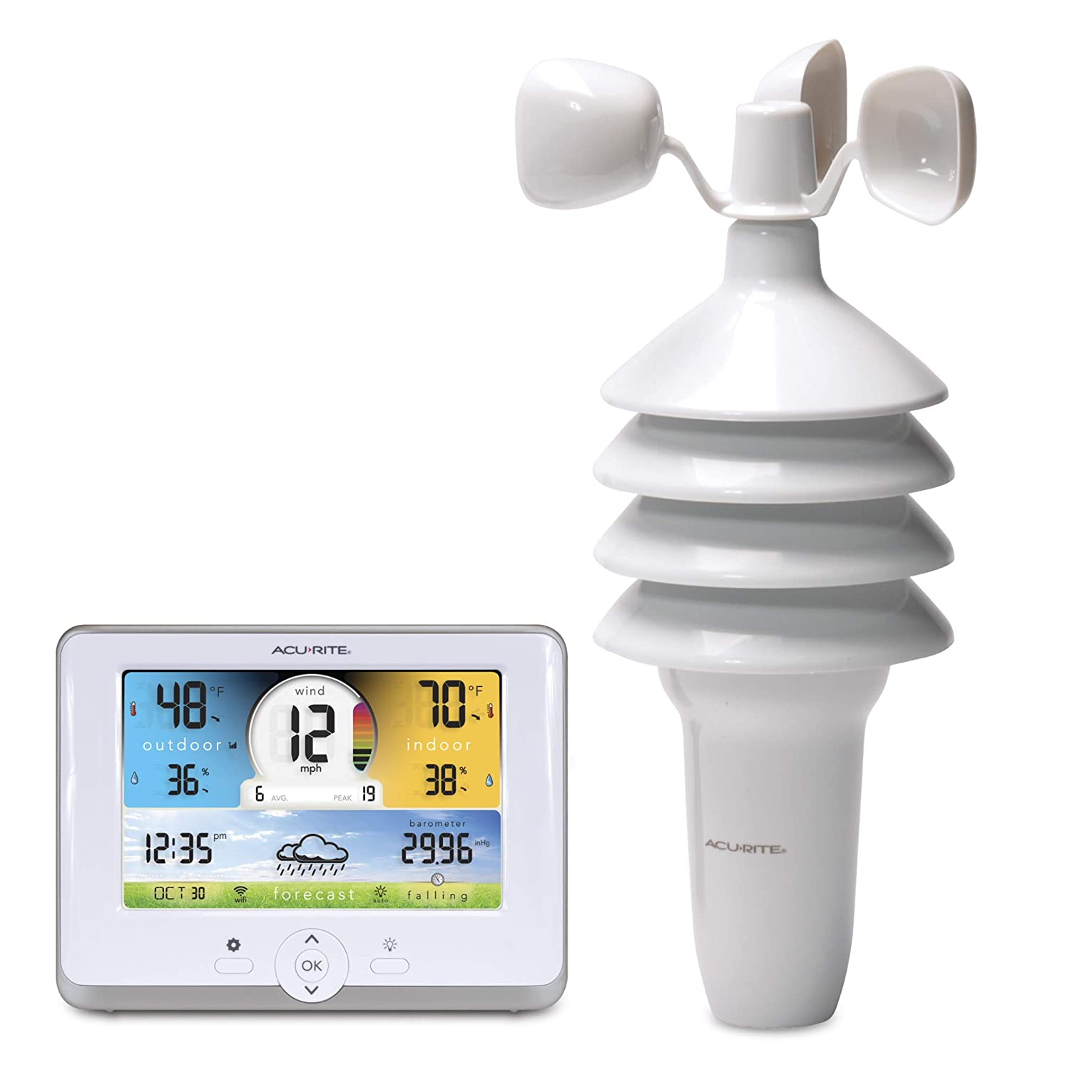 AcuRite 01530M 3-in-1 Weather Station with Wi-Fi Connection to Weather Underground