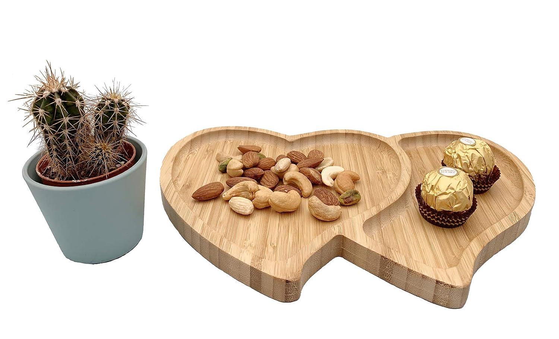 Vassoio Multifunzione a Forma di Cuore Piatto da Portata a Forma di Cuore in bamb/ù Naturale Vassoio per Snack EcoWonder