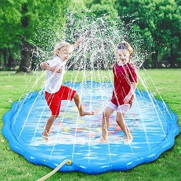 Fabur 170cm/67in Splash Pad para Niños Pulverización, Juego de Salpicaduras para Juegos de Agua para niños PVC Splash Play Mat Almohadilla para Actividades Familiares Aire Libre Fiesta Playa Jardín: Amazon.es: Juguetes y