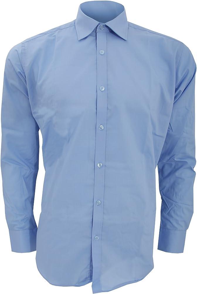 KUSTOM KIT - Camisa Entallada de Manga Corta Modelo Business Slim Hombre Caballero - Trabajo/Fiesta/Verano (Cuello 36cm) (Azul Claro): Amazon.es: Ropa y accesorios