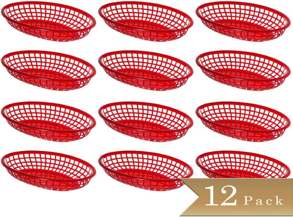 Pack of 12 - TrueCraftware - Oval Red Plastic Fast Food Baskets - 9 1/4