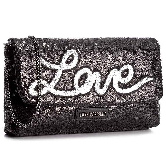 66a56b67cd6 Love Moschino Sequins crossbody bag black: Amazon.co.uk: Clothing