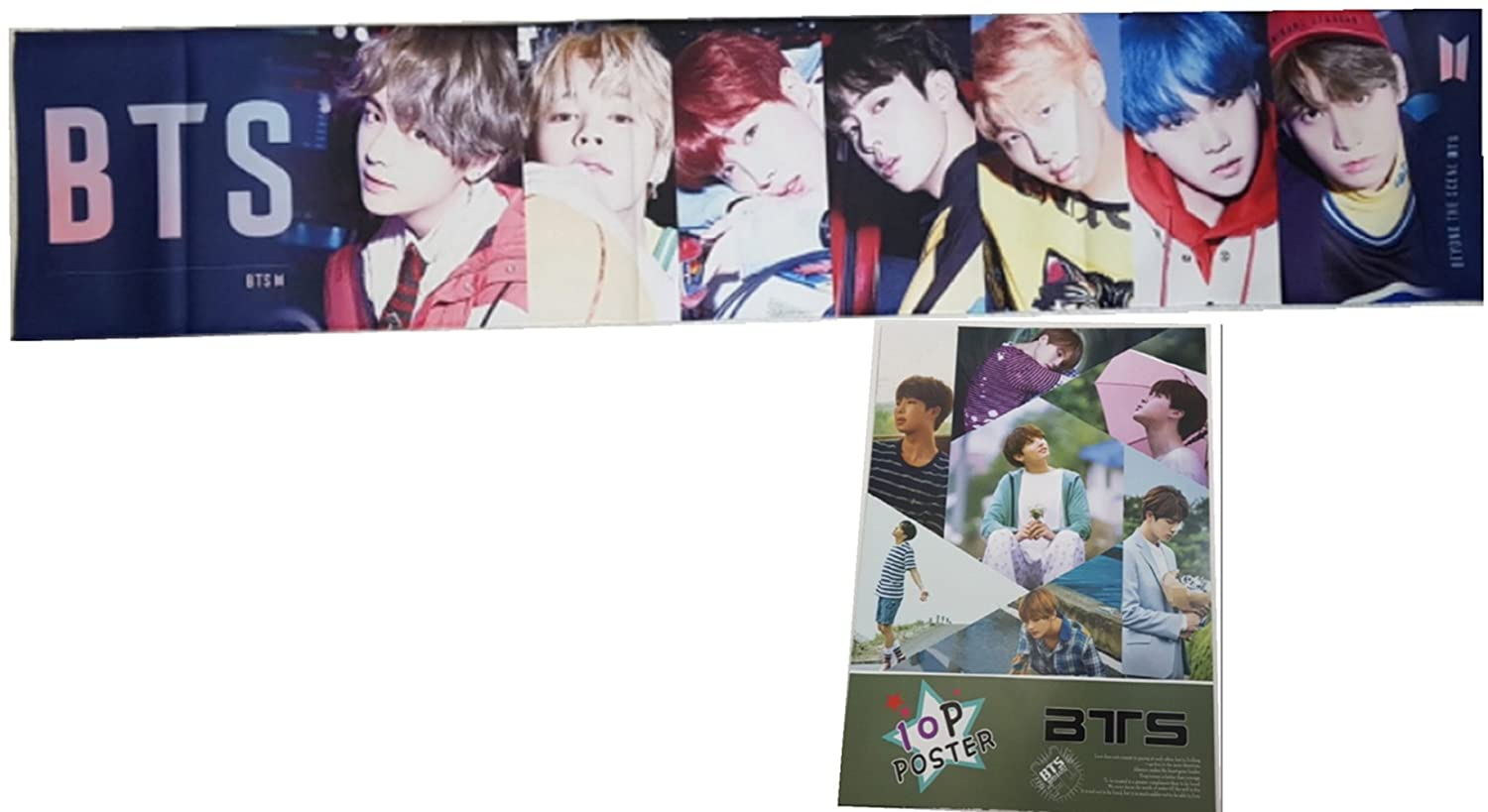 BTS K-Pop Cheering Banner, Slogan Towel with Poster Set, A4 size 10