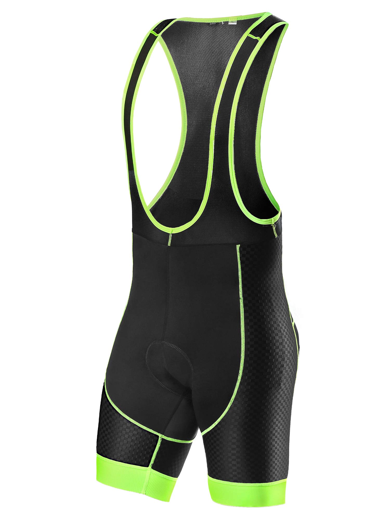Letook Men's Bike Bib Shorts Gel Padded Bicycle Cycling Bibs Tight Breathable Mesh for Outdoor Riding 100015 Green L by Letook