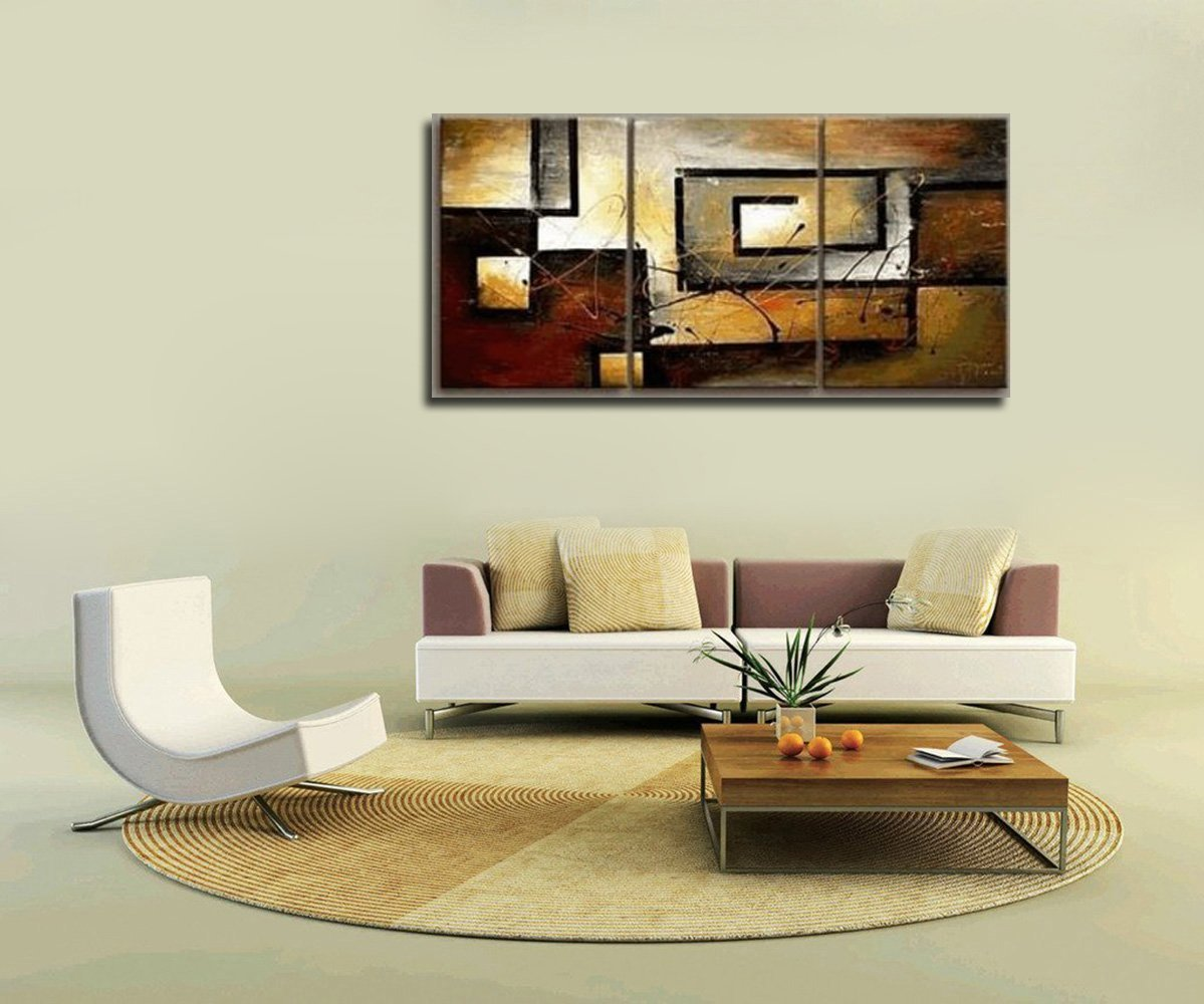 Mon Art 100% Hand Painted Oil Painting Abstract Art Large Modern Art 3 Piece Wall Art Canvas Art for Home Decoration (UnStretch/UnFrame)