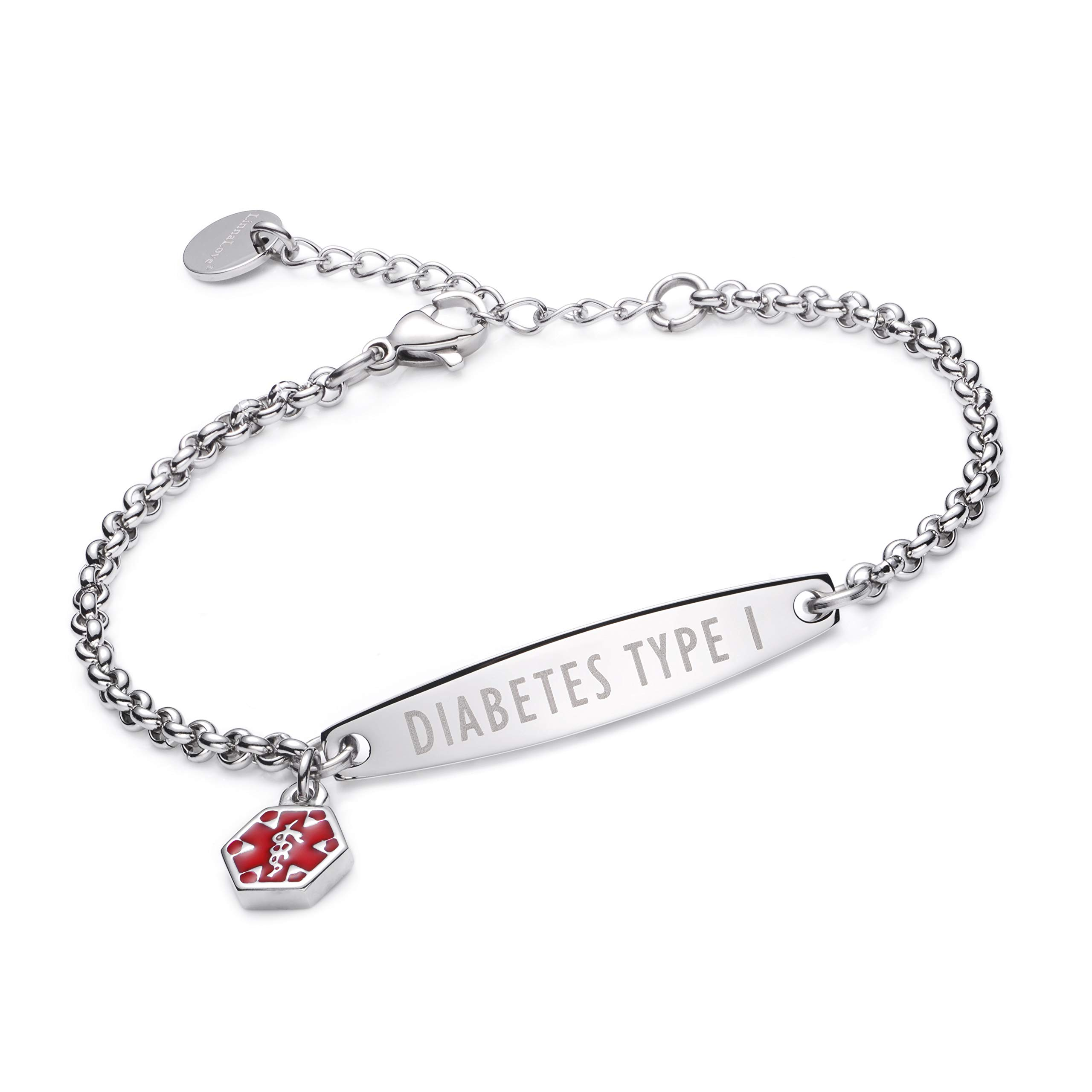 linnalove-Pre-Engraved Simple Rolo Chain Medical Alert id Bracelet for Women & Girl-Diabetes Type 1