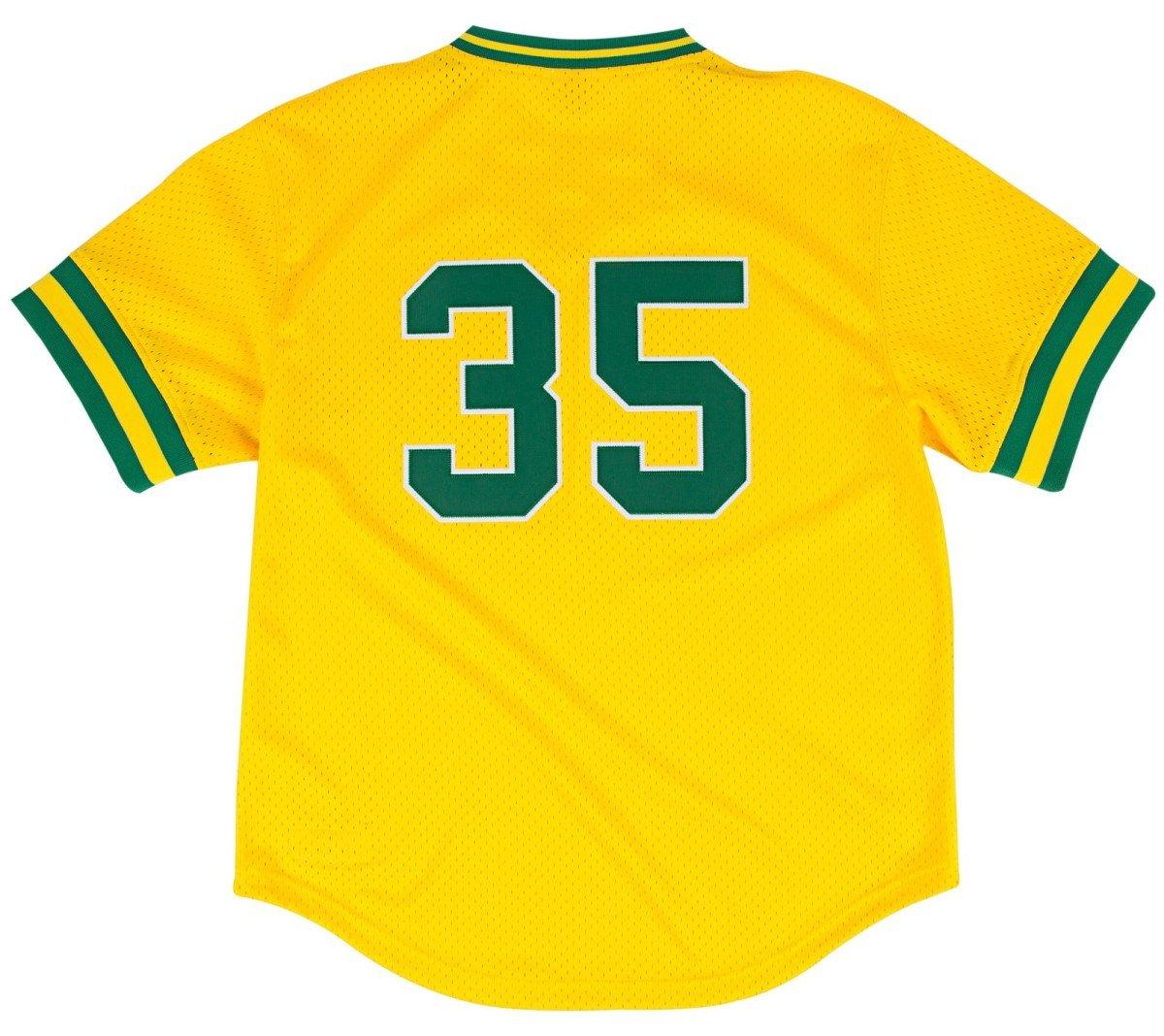 e2e4aeb5e77 Rickey Henderson Oakland Athletics Mitchell   Ness Authentic 1984 Gold BP  Jersey