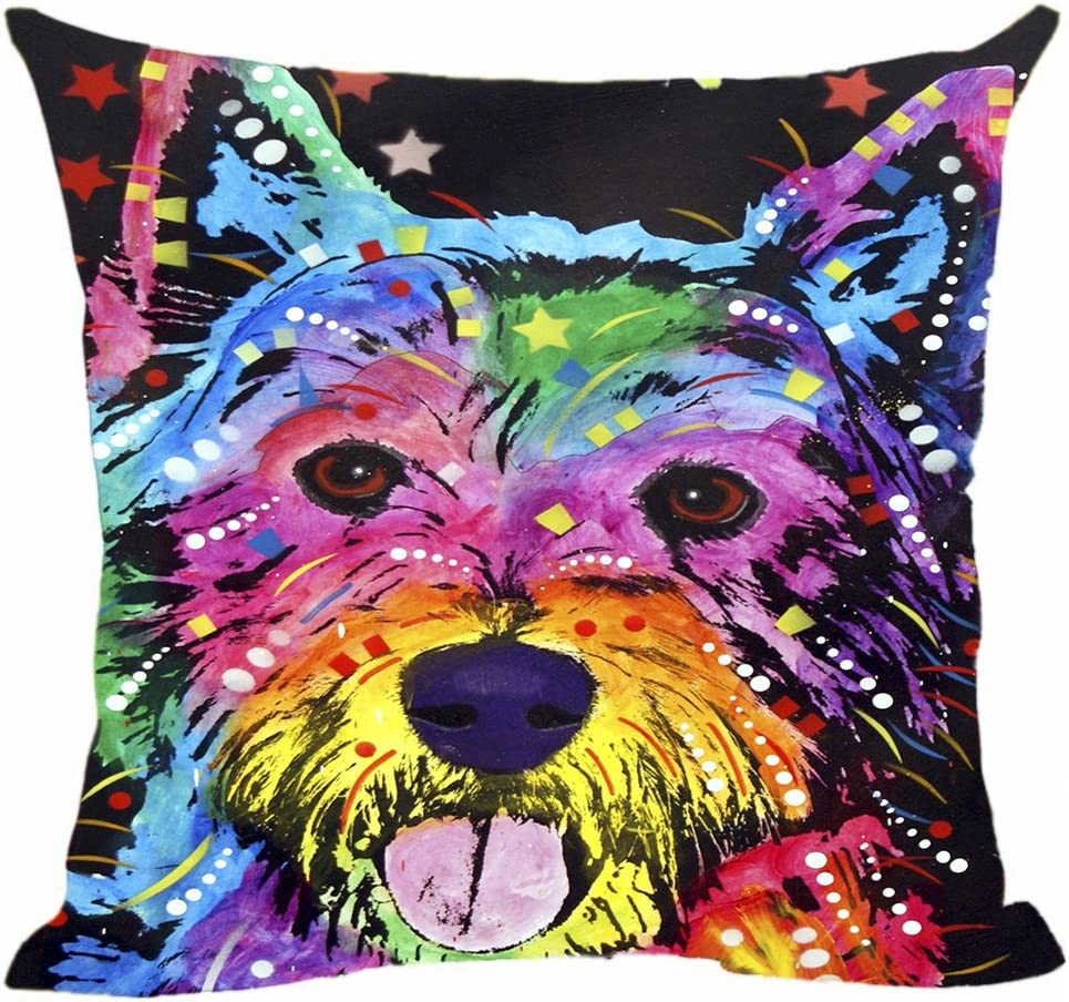 """CafeTime Funny Home Decor Westie Pillow Covers Colorful Animals Sofa Bed Decorative Cushion Cover Custom Canvas Throw Pillow Cases Good Gift for Dog Lovers 18""""x18""""Inch"""