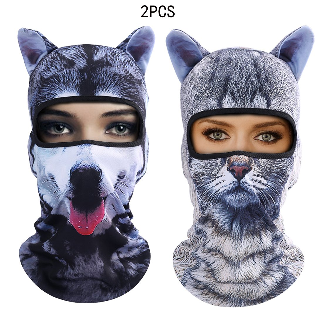 Outgeek Cat Mask, Women Men Balaclava Summer Full Face Hat Animal Ears Sports Helmet Climbing Fishing Cap (Cat and Dog)