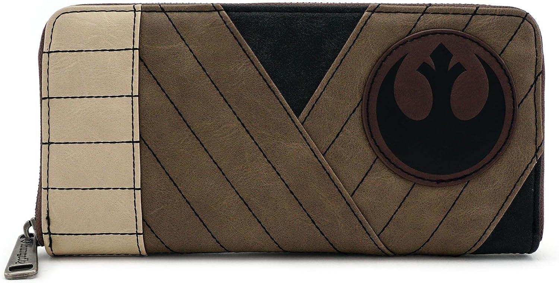 Loungefly X sous licence officielle Star Wars Jedi La derni/ère Rey simili cuir Zip autour de portefeuille Cosplay T.-N.-O.