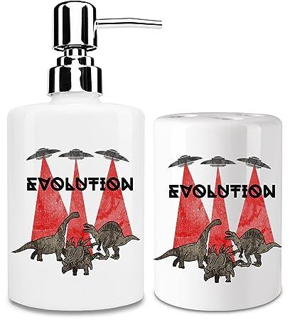 Evolución dispensador de jabón líquido y vaso para cepillo de dientes set| añadir un toque