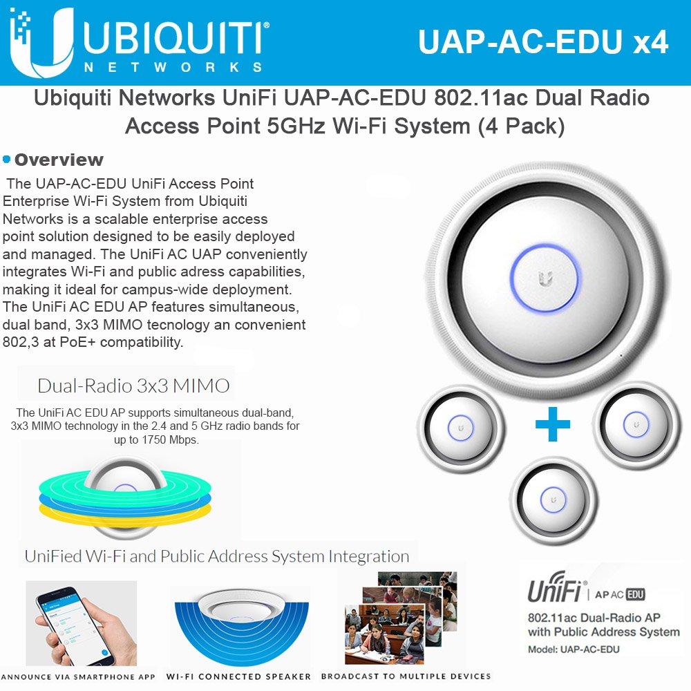 Ubiquiti UniFi AP AC EDU 4-UNITS UAP AC EDU 11ac Dual-Radio Access Point 3x3 PoE by Ubiquiti Networks (Image #1)