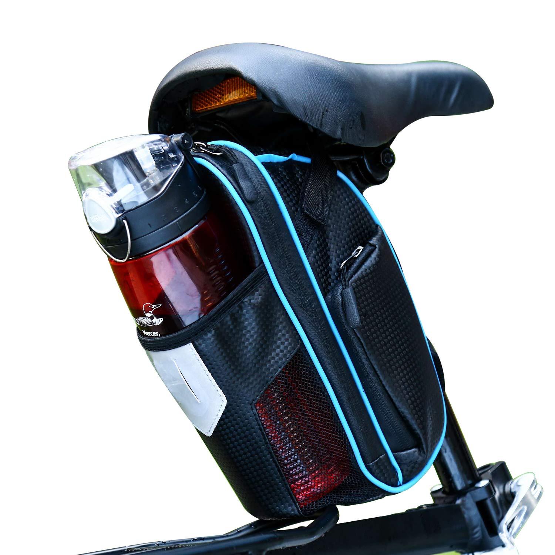 CamGo 自転車サドルバッグ 防水 マウンテンロードMTBバイクシートパック ウォーターボトルポケットホルダー/反射ストライプ  ブルー B07PGGMNLW