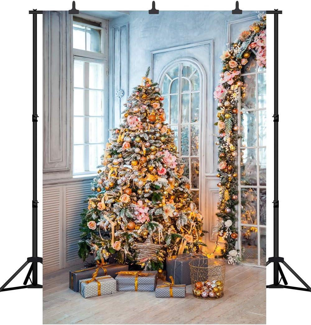GoHeBe 6X9FT Merry Christmas Party Backdrop Christmas Tree Customized Seamless Vinyl Photography Photo Background Studio Prop PGT268B 180X270CM