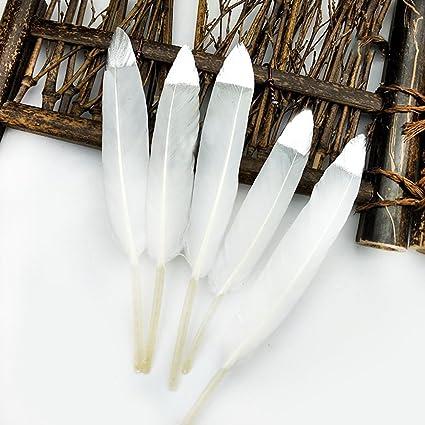 IEUUMLER 40 Piezas Plumas de Oro Blanco Natural Dipped para Varias Manualidades, Fiestas de Cumpleaños