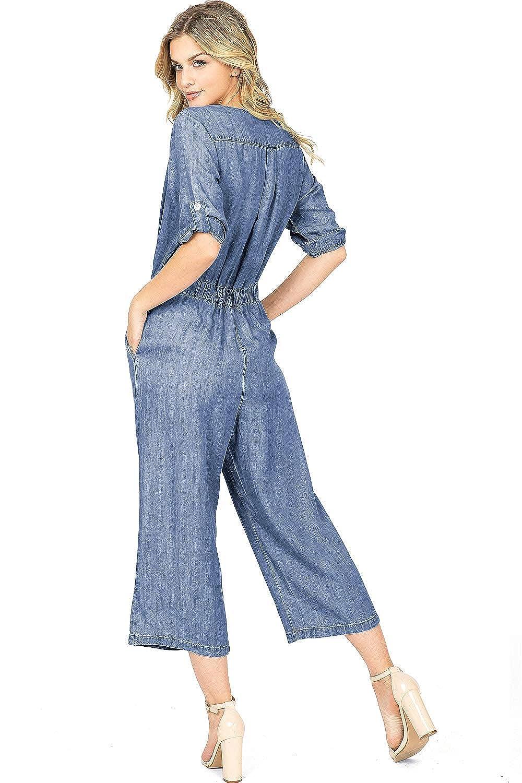 LOVE STITCH Womens Juniors Culotte Style Chambray Jumpsuit