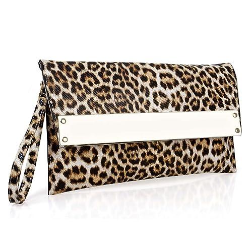 BMC - Cartera de mano de piel de poliuretano para mujer blanco Tan Leopard: Amazon.es: Zapatos y complementos
