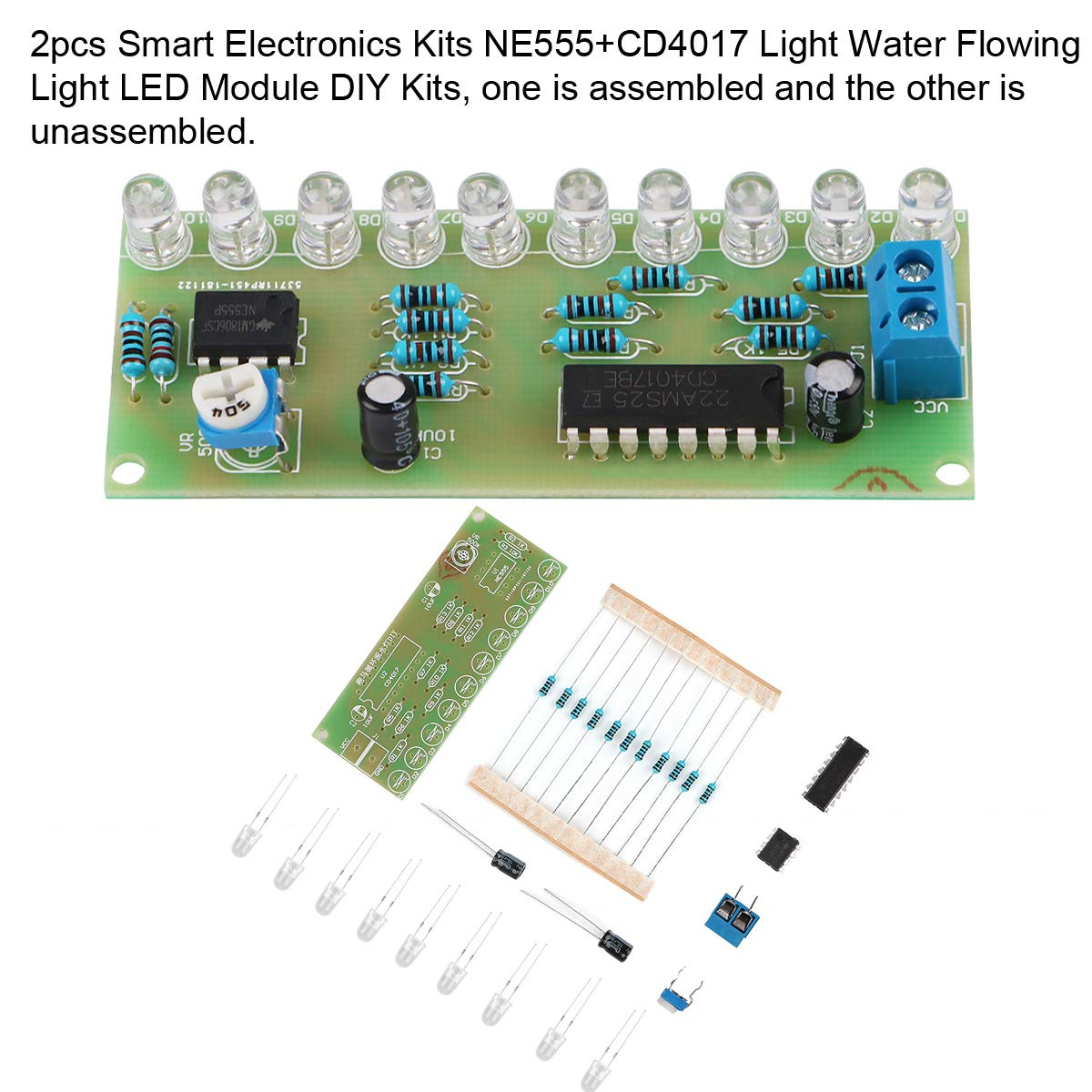 Ne555 Cd4017 Ne555 Driver Water Powered Board Circuit Water Flowing Light Led Electronic Module Diy Kit Running Light Drive Special Summer Sale Electronic Components & Supplies Integrated Circuits