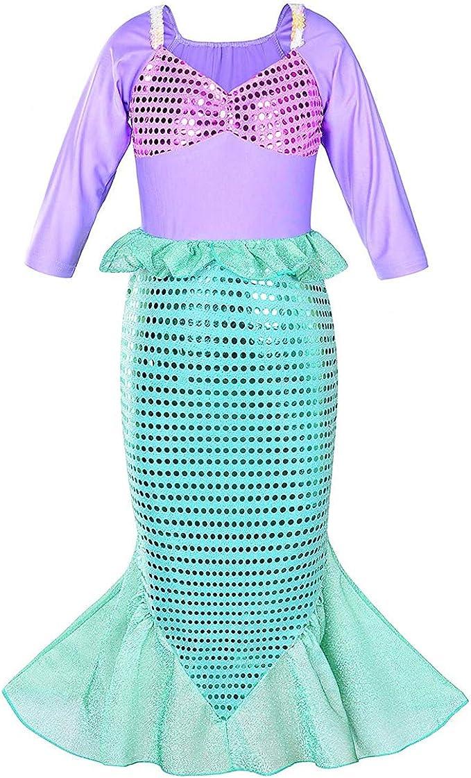 IMEKIS Disfraz de sirena para niñas con lentejuelas, disfraz de ...